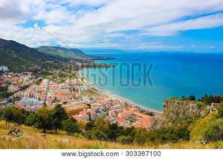 Amazing Landscape Surrounding Picturesque Coastal City Cefalu In Sicily, Italy. The City Located On