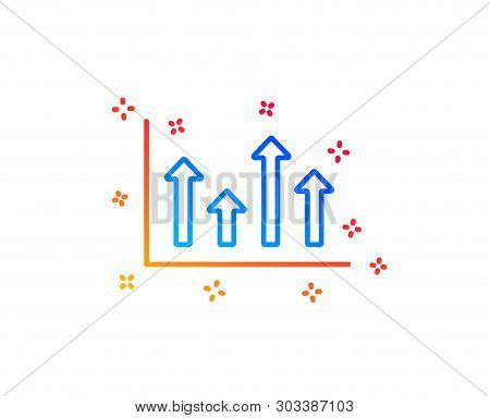 Growth Chart Line Icon. Financial Graph Sign. Upper Arrows Symbol. Business Investment. Gradient Des