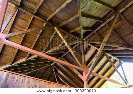The Roof Structure Of The Wooden Pavilion.
