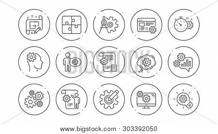 Engineering Line Icons. Puzzle, Dividers Tool And Architect Plan. Engineer Linear Icon Set. Line But