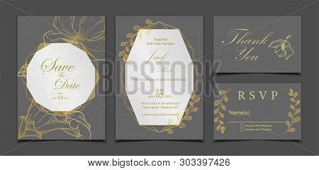 Luxury Wedding Invitation Card, Save The Date, Rsvp, Thank You Template. Dark Background And Geometr