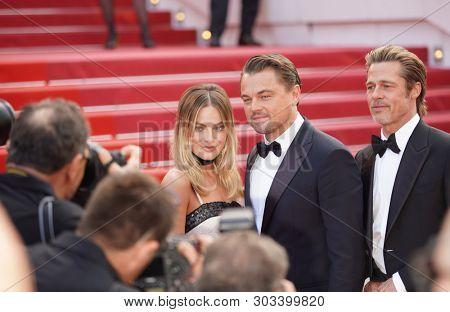 Leonardo DiCaprio, Margot Robbie, Brad Pitt attend the screening of