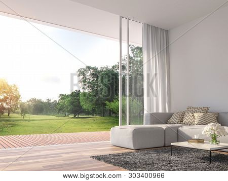Modern Living Room 3d Render.the Rooms Have Wooden Floors ,decorate With White Fabric  Sofa,there Ar