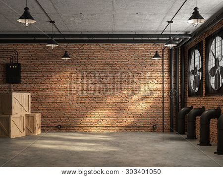 Loft Space Empty Room 3d Render,there Are Orange Brick Wall. With Concrete Floor And Ceiling The Wal