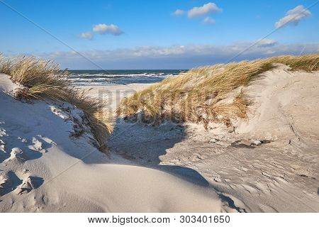 Pedestrian Entrance To The Beach In Hiddensee Island, Baltic See, Northern Germany. Sand Dunes With