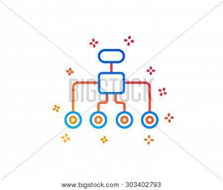 Restructuring Line Icon. Business Architecture Sign. Delegate Symbol. Gradient Design Elements. Line