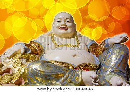 Big Belly Maitreya Cloth Bag Monk Happy Buddha Statue Isolated on Blurred Background poster