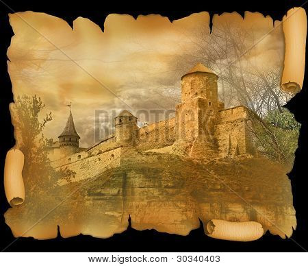 medieval fortress on the old scroll worn paper poster