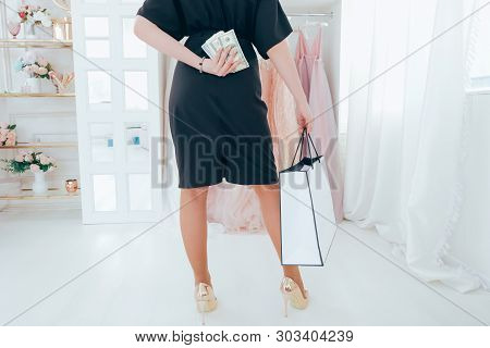 Shopping Addiction. Evening Dress Showroom. Rich Female Consumer Ready To Spend Money In Luxury Bout
