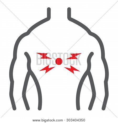 Back Pain Line Icon, Body And Pain, Back Injure Sign, Vector Graphics, A Linear Pattern On A White B