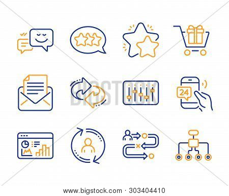 Happy Emotion, User Info And Journey Path Icons Simple Set. 24h Service, Seo Statistics And Dj Contr