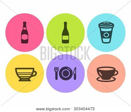 Mocha, Food And Beer Bottle Icons Simple Set. Champagne Bottle, Takeaway Coffee And Espresso Signs.