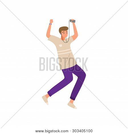 Modern Boy Dancing With Music Device And Earphones In Pants