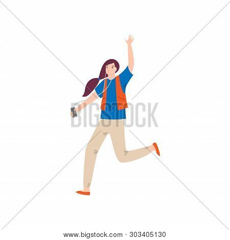 Running Girl With Red Vest And Listen Music From Smartphone