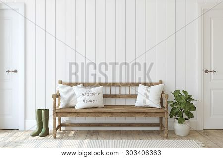 Farmhouse Entryway. Wooden Bench Near White Shiplap Wall. Interior Mockup. 3d Render.