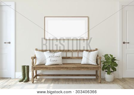 Farmhouse Entryway. Wooden Bench Near Beige Wall. Frame Mockup. Wooden Frame On The Wall. 3d Render.