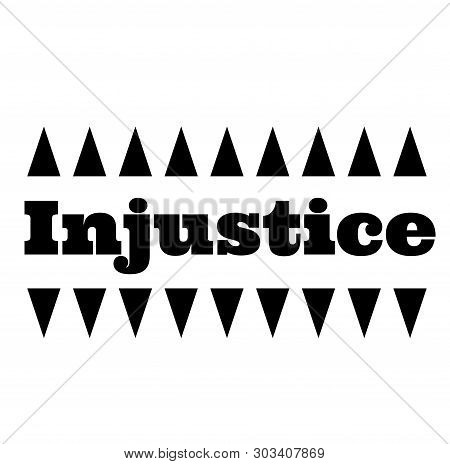 INJUSTICE stamp on white background. Stickers labels and stamps series. poster