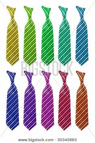 Ten multi-colored tie isolated
