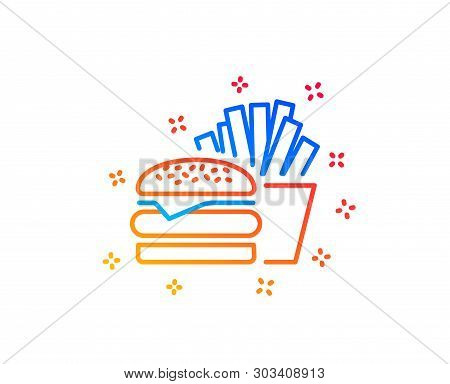 Burger With Fries Line Icon. Fast Food Restaurant Sign. Hamburger Or Cheeseburger Symbol. Gradient D