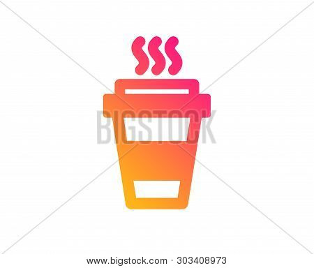 Takeaway Coffee Cup Icon. Hot Drink Sign. Takeout Symbol. Classic Flat Style. Gradient Takeaway Icon
