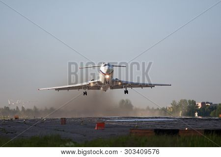 Pushkin, St. Petersburg - May 25,2014:  Tupolev Tu-154 Rf-85856 Operated Russia - Navy Takes Off Fro