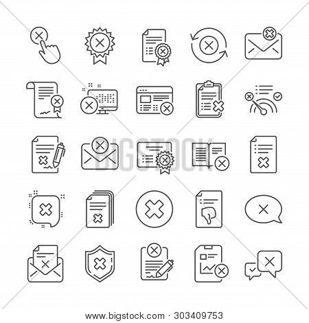 Reject Or Cancel Line Icons. Set Of Decline Certificate, Dislike And Cancellation Icons. Refuse, Rej