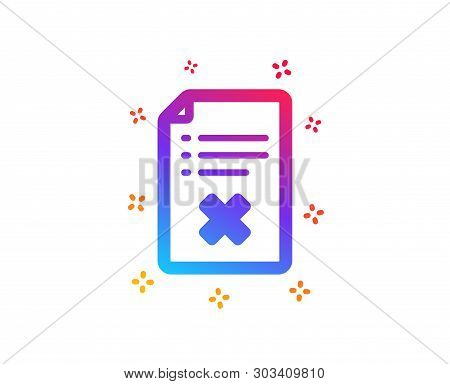 Reject File Icon. Decline Document Sign. Delete File. Dynamic Shapes. Gradient Design Reject File Ic