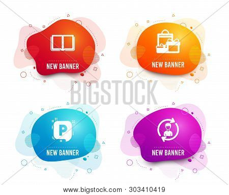 Liquid Badges. Set Of Shopping, Book And Parking Icons. Human Resources Sign. Holiday Packages, E-le
