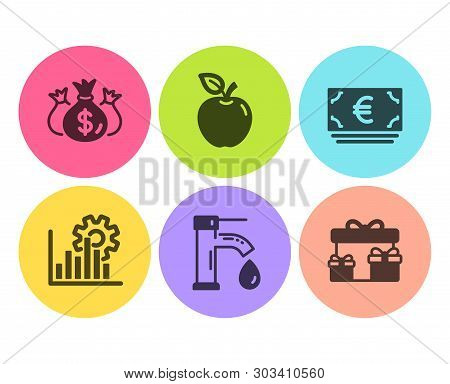 Check Investment, Tap Water And Euro Currency Icons Simple Set. Seo Graph, Apple And Surprise Boxes