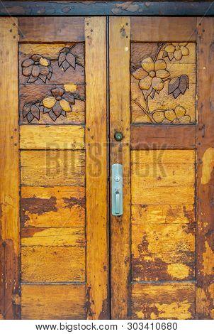 Ornate Hand Carved Heavy Old Varnished Wooden Door With Dogwood Flower Design.