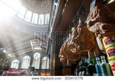 Valencia, Spain - May 5, 2019 : Shoppers At Mercado Central. The Historic Mercado Central Is One Of