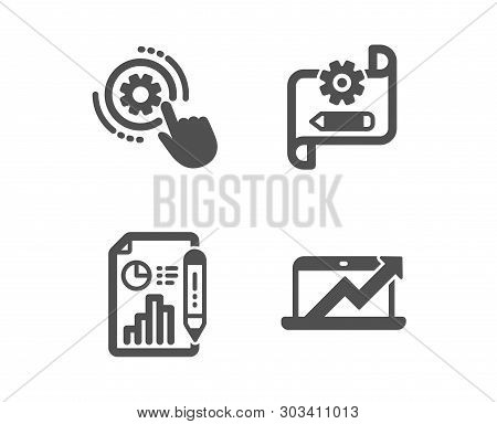Set Of Cogwheel Settings, Cogwheel Blueprint And Report Document Icons. Sales Diagram Sign. Engineer