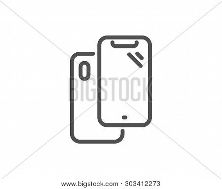 Smartphone Line Icon. Phone Cover Sign. Mobile Device Symbol. Quality Design Element. Linear Style S