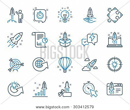 Startup Line Icons. Launch Project, Business Report, Target Icons. Strategy, Development Plan, Start
