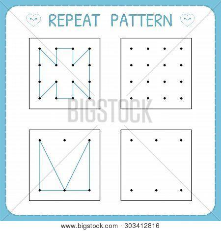 Repeat Pattern. Working Pages For Children. Preschool Worksheet For Practicing Motor Skills. Kinderg