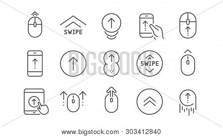 Swipe Up Line Icons. Scrolling Mouse, Landing Page Swipe Signs. Scroll Up Mobile Device Technology I