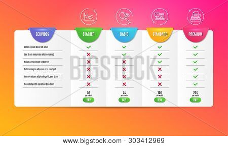 Diagram Chart, Search And Faq Icons Simple Set. Comparison Table. Typewriter Sign. Presentation Grap