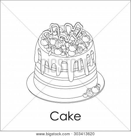 High Striped Berry Cake In Doodle Style. Decorated With Strawberry, Blueberry, Cherry. White Round P