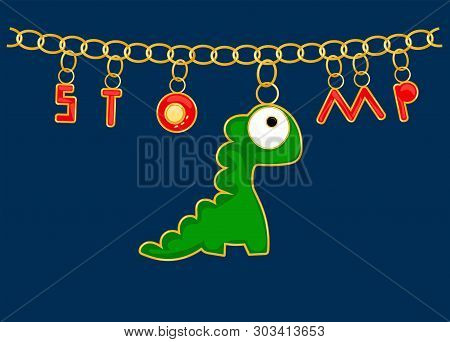 Jewellery Green Dino Pendants With Lettering Stomp. Chain With Golden Rings, Red Letters. To Create