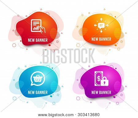 Liquid Badges. Set Of Document, Sms And Shopping Cart Icons. Private Payment Sign. File With Diagram