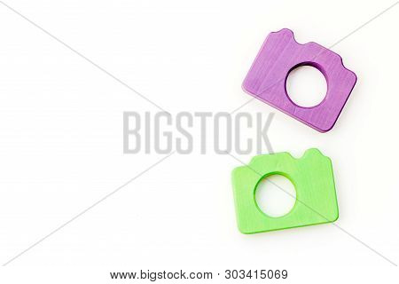 Photo Camera Concept On White Background Top View Copy Space