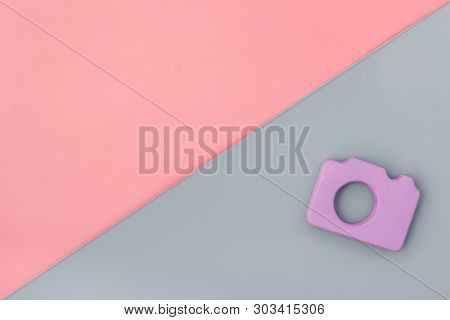 Photo Camera Concept On Pink And Gray Background Top View Mock Up