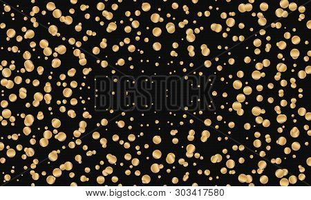 Festive Gold Round Confetti On Black Background. Vector Illustration For Decoration Of Holidays, Pos