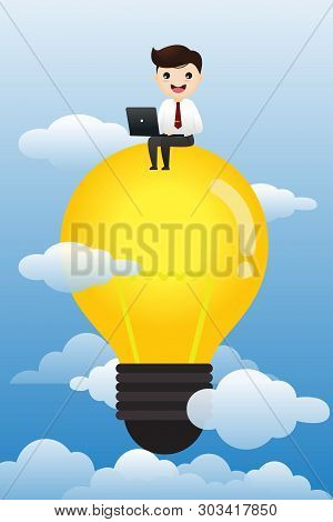 Businessman With Computer Sitting On Abstract Lamp. Cloudy Sky Background. Vector, Illustration