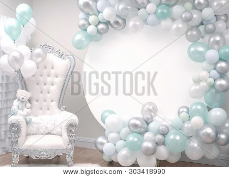 Beautiful Decoration Armchair And Balloons For A Baby Shower Party.  Its A Boy.