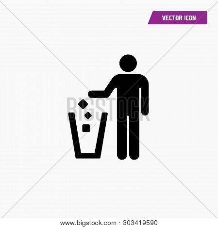 Black Flat Man Silhouette Throwing Trash Into Trash Bin Icon. White Background, Vector.