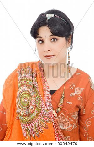 young woman in a hindu dress, isolated on white
