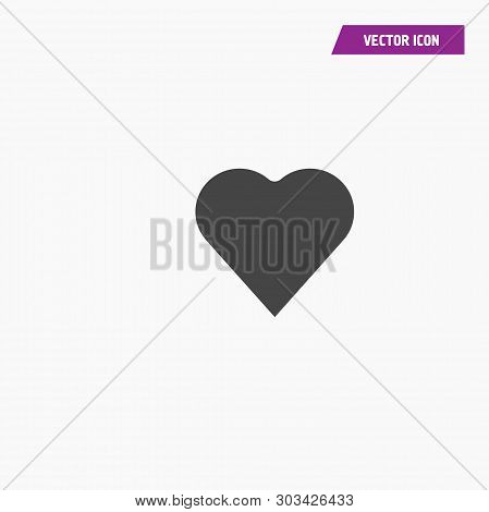 Black Heart Icon Vector. Perfect Love Symbol. Valentine Day Sign, Emblem Isolated On White Backgroun