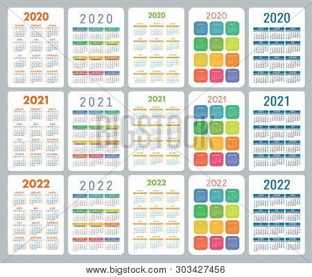 Calendar 2020, 2021 And 2022 Years. Colorful Vector Set. Week Starts On Sunday. Vertical Calender De