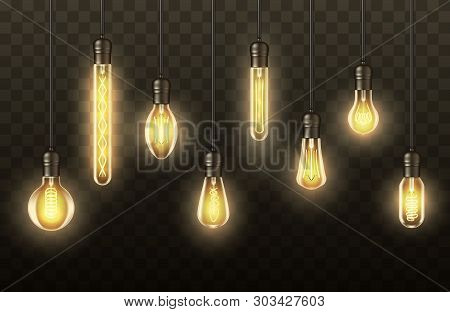 Realistic Light Bulbs, Lamps Hanging On Wires. Vector Vintage Retro Light Bulbs With Glowing Light,